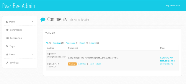 PearlBee comment management page screenshot